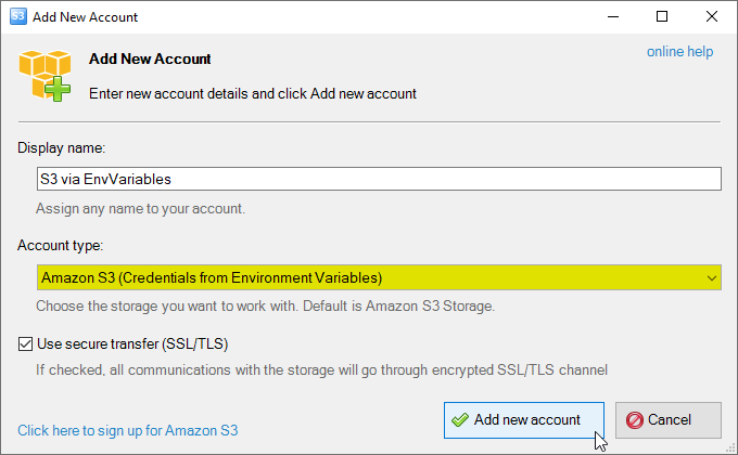 aws credentials from environment variables