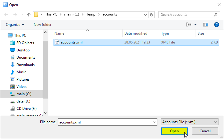 Open file dialog, import storage accounts