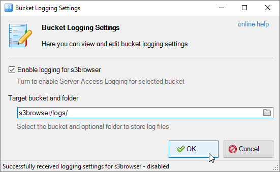 click ok to apply bucket logging settings