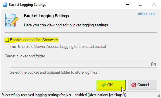 how to disable amazon s3 bucket logging