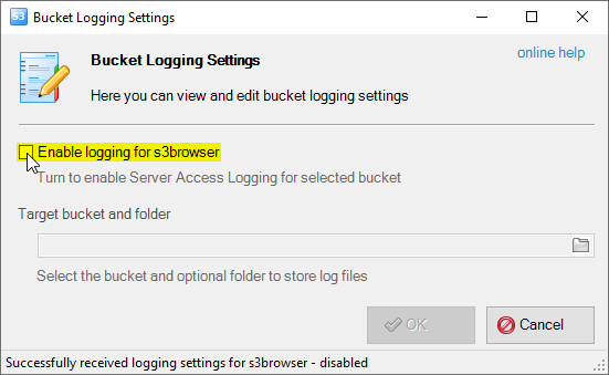 enable amazon s3 bucket logging
