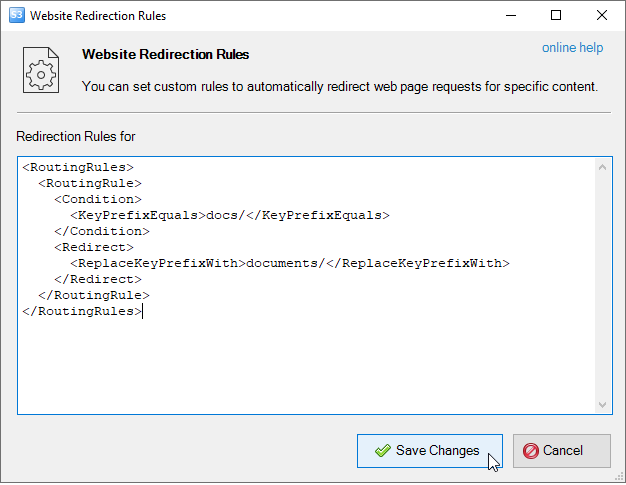 Website redirection dialog