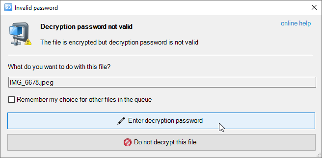 Password is not valid dialog
