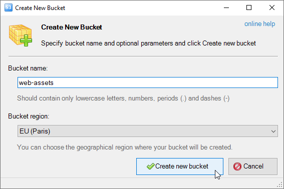 Create New Bucket dialog will appear