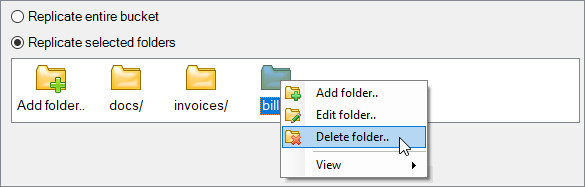 Edit folders to replicate