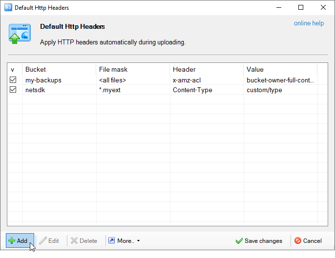 Default HTTP headers