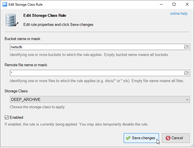 The Edit default Storage Class dialog