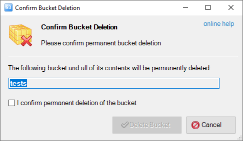 confirm bucket deletion dialog