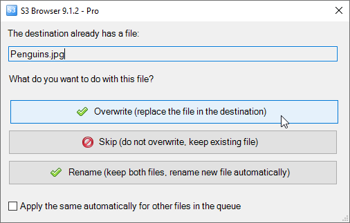 overwrite actions for existing files