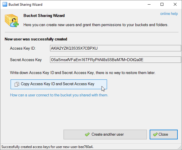 Bucket Sharing. New IAM User created. Save Access Key ID and Secret Access Key