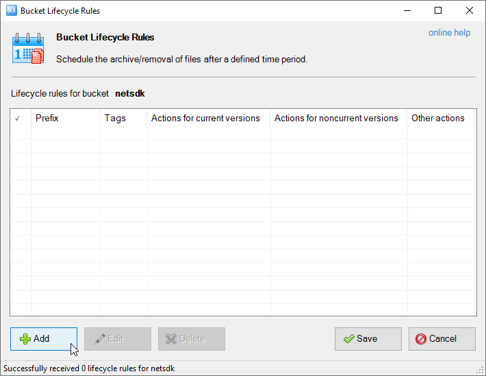 Buckets-lifecycle-configuration dialog