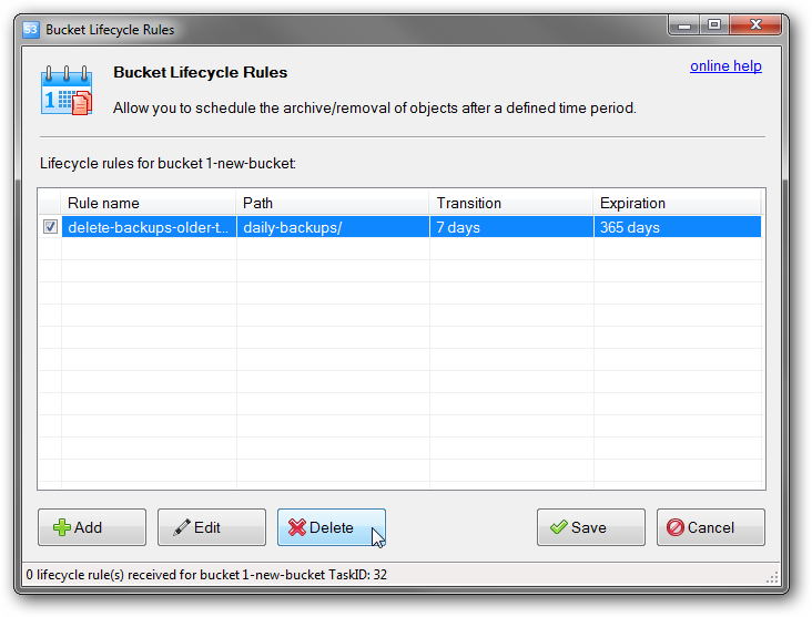 how to delete object expiration rules