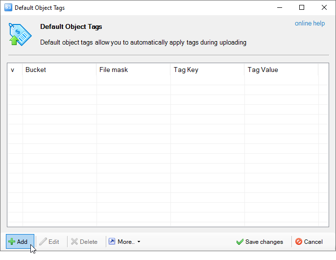 default object tags dialog
