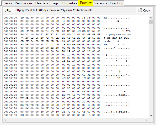 S3 Browser Preview feature. Simple hex viewer for binary files.