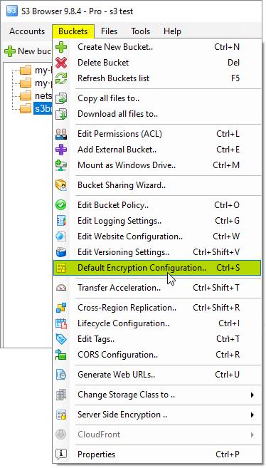 Buckets, Default Encryption Configuration