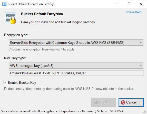 Bucket Default Encryption Settings dialog