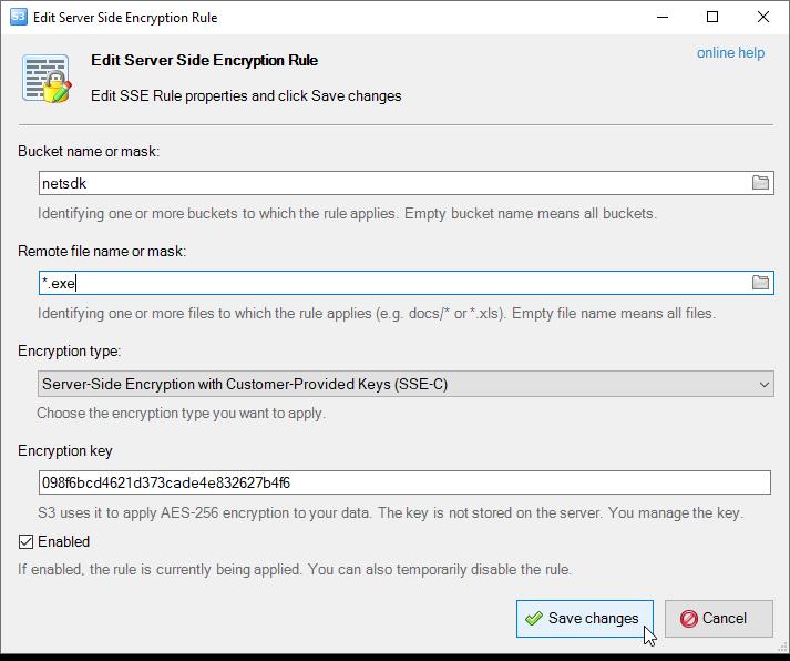 edit sse rule dialog