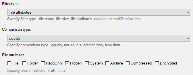File attributes filter