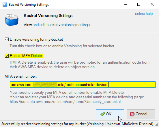 Enable MFA Delete for Versioned Bucket